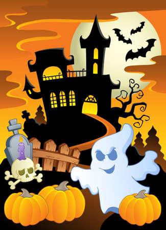 ghost house: Scene with Halloween theme 5  illustration  Illustration