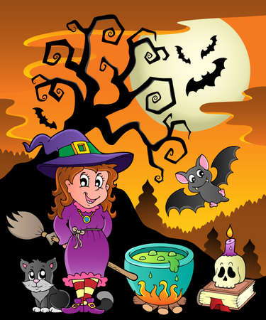 Scene with Halloween theme 8  illustration  Vector