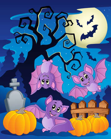 Scene with Halloween tree 5 illustration  Vector