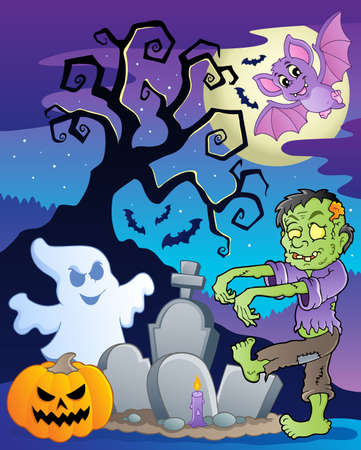 Scene with Halloween tree 6 illustration Stock Vector - 14604585