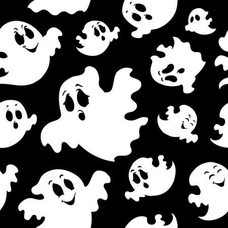 Seamless background with ghosts 1  illustration  Vector
