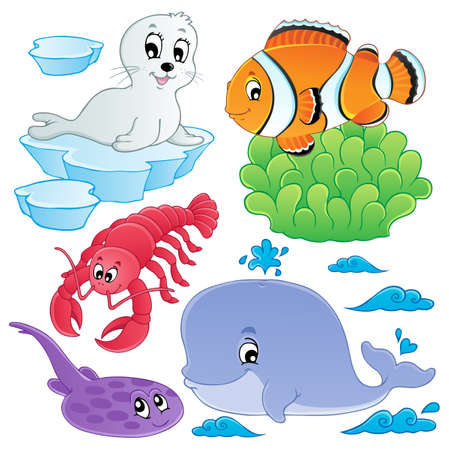 Sea fishes and animals collection 5  illustration  Vector