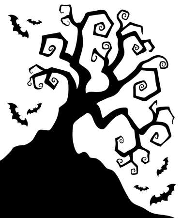 spooky tree: Spooky silhouette of Halloween tree  illustration