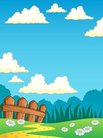 Spring theme landscape 4 illustration