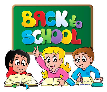 kids reading book: Back to school thematic image 1 - vector illustration