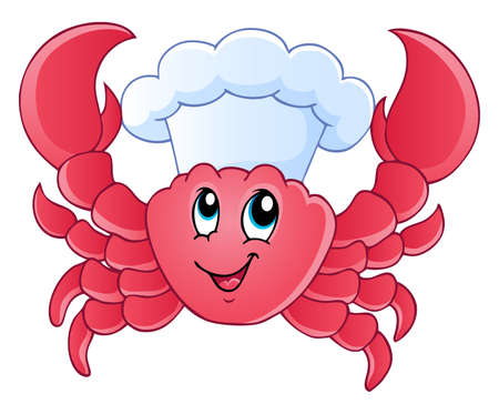 crabs: Cartoon crab chef - vector illustration