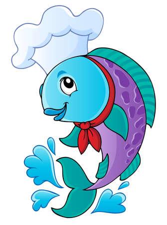 chef caricatura: Cocinero de la historieta pescado - ilustración vectorial