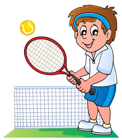 jugando tenis: Jugador de tenis de la historieta - ilustraci�n vectorial