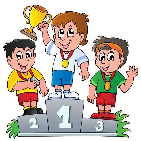 podium: Cartoon winners podium - vector illustration  Illustration