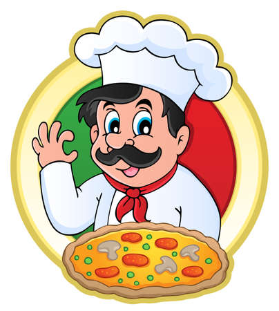 pizzeria: Chef theme image 7 - vector illustration