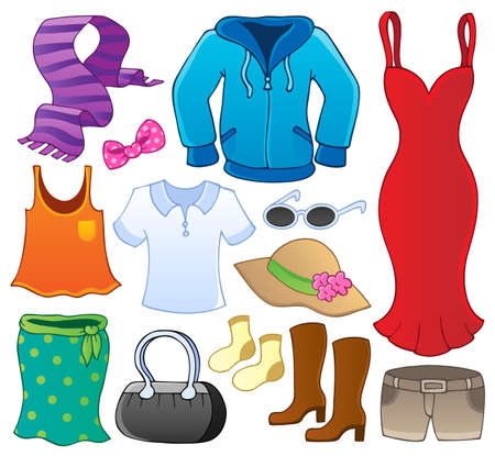 clothes cartoon: Clothes theme collection 1 - vector illustration