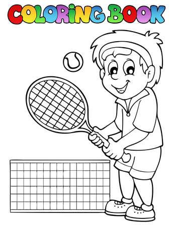man holding book: Coloring book cartoon tennis player - vector illustration  Illustration