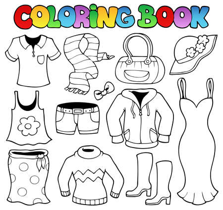 book jacket: Coloring book clothes theme 1 - vector illustration