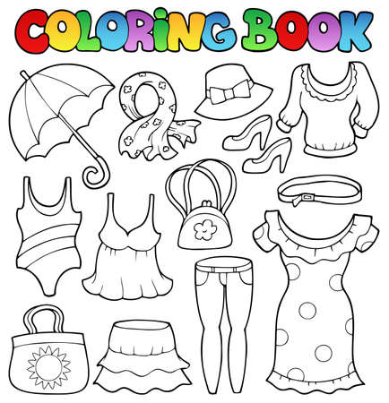 cartoon umbrella: Coloring book clothes theme 2 - vector illustration