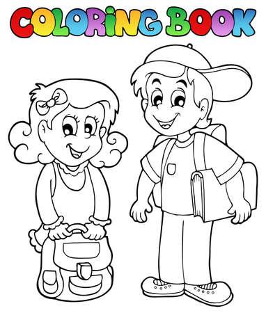 young schoolgirl: Coloring book school topic 3 - vector illustration