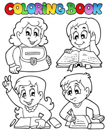 Coloring book school topic 4 - vector illustration  Vector