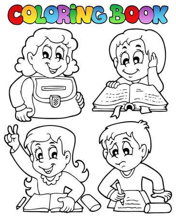 young schoolgirl: Coloring book school topic 4 - vector illustration