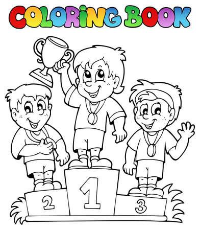 livre � colorier: Coloring book vainqueurs podium - illustration vectorielle