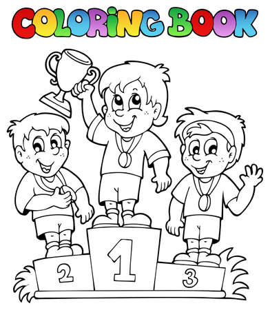 coloring book: Coloring book winners podium - vector illustration