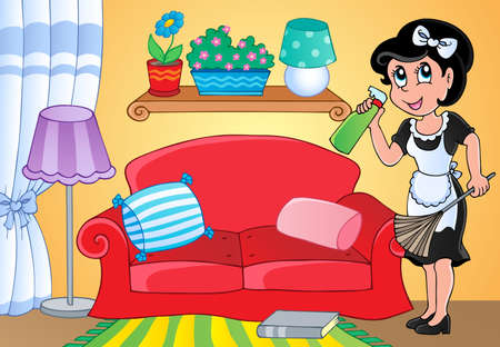 carpet clean: Housewife theme image 2 - vector illustration  Illustration