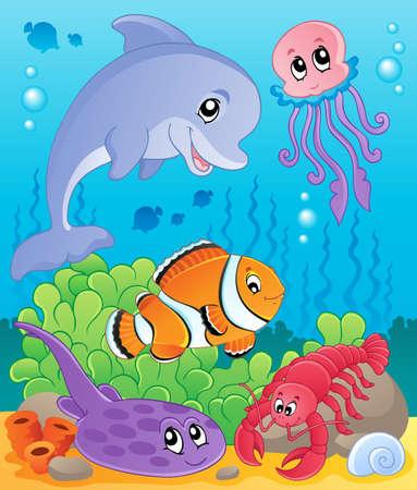 peces de agua salada: Imagen con el tema submarino 5 - ilustraci�n vectorial Vectores