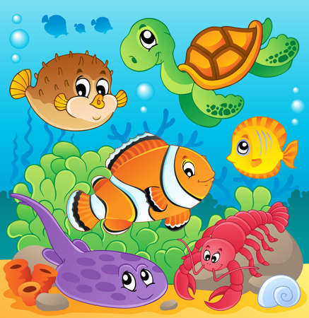 anemones: Image with undersea theme 6 - vector illustration