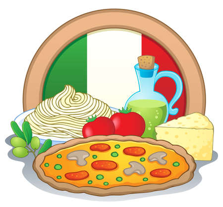 Italian food theme image 1 - vector illustration