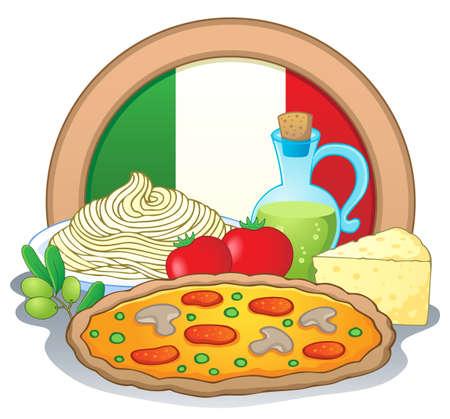 Italian food theme image 1 - vector illustration