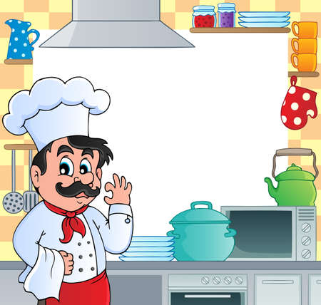 restaurateur: Kitchen theme frame 1 - vector illustration