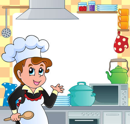 delantal: Cocina marco tem�tico 2 - ilustraci�n vectorial