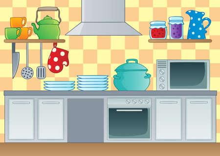 cocina caricatura: Cocina imagen Tema 1 - ilustración vectorial