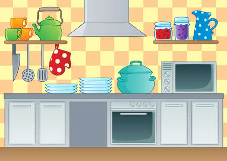 kitchen cabinet: Kitchen theme image 1 - vector illustration  Illustration
