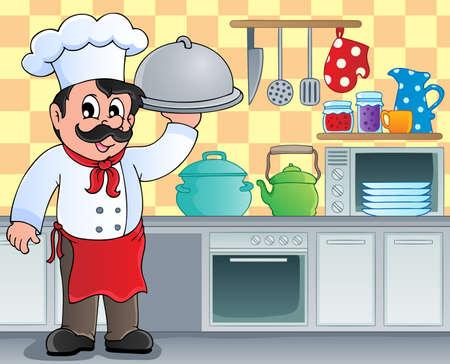 cocina caricatura: Tema Kitchen image 3 - ilustración vectorial Vectores