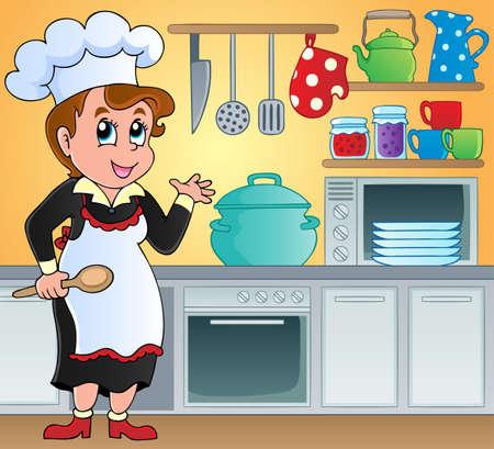 restaurateur: Image du th�me Cuisine 6 - illustration vectorielle Illustration