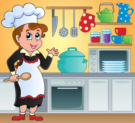kitchen apron: Kitchen theme image 6 - vector illustration