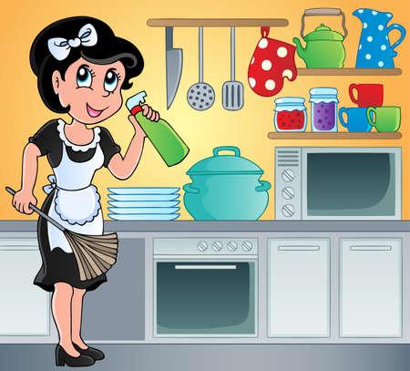 mujer limpiando: Cocina imagen Tema 7 - ilustración vectorial