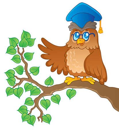 bough: Owl teacher theme image 1 - vector illustration
