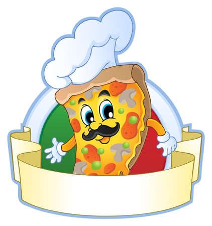 chef italiano: Imagen Pizza Tema 1 - ilustración vectorial