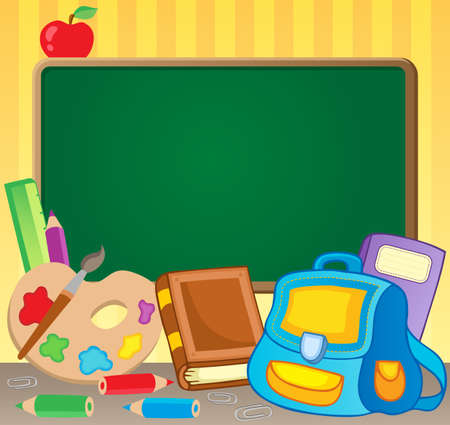 exercise cartoon: Schoolboard theme image 1 - vector illustration