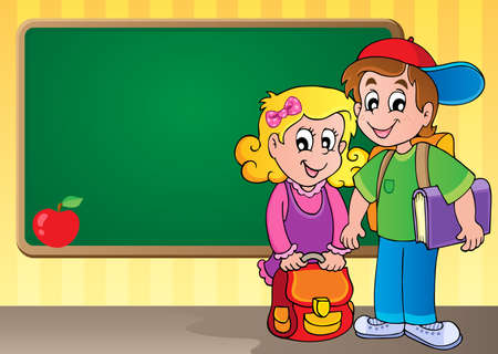 young schoolchild: Schoolboard theme image 3 - vector illustration  Illustration