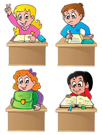 schooldesk: School pupils theme image 1 - vector illustration  Illustration