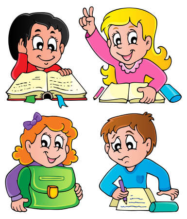 School pupils theme image 2 - vector illustration