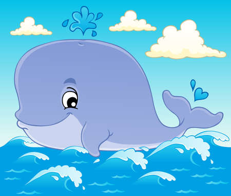 cartoon whale: Whale theme image 1 - vector illustration  Illustration