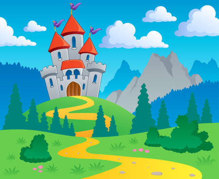 fairytale castle: Castle theme landscape 1 - vector illustration  Illustration