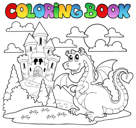 Coloring book dragon theme image 1 - vector illustration  Illustration