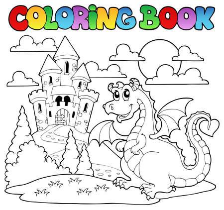 Malbuch dragon Thema Bild 1 - Vektor-Illustration