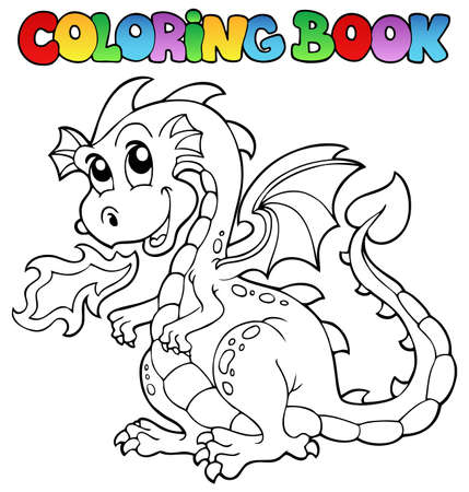 Coloring book dragon theme image 2 - vector illustration  Vector