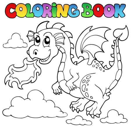 dragones: Libro para colorear la imagen Dragon Theme 3 - ilustraci�n vectorial