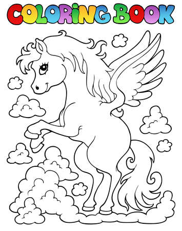 pegaso: Coloring book tema pegasus 1 - ilustraci�n vectorial