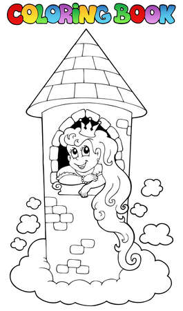 Coloring book princess theme 1 - vector illustration